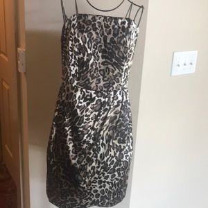Brown, Cream and Black strapless Guess dress
